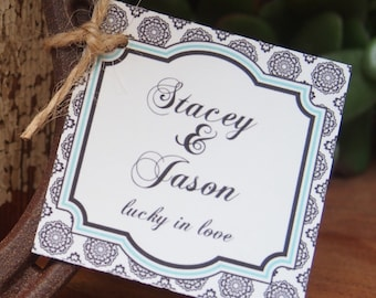 Set of 24 - Wedding Favor Tags - 2 X 2 inch - West Tag Design - Colors of your choice, Bridal Shower Favor Tags, Hang Tags, Custom Tags