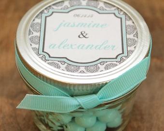 Set of 24 - 4 oz Mason Jar Wedding Favors - West Label Design - Bridal Shower Favors, Baby Shower Favors, Favors, Party Favors
