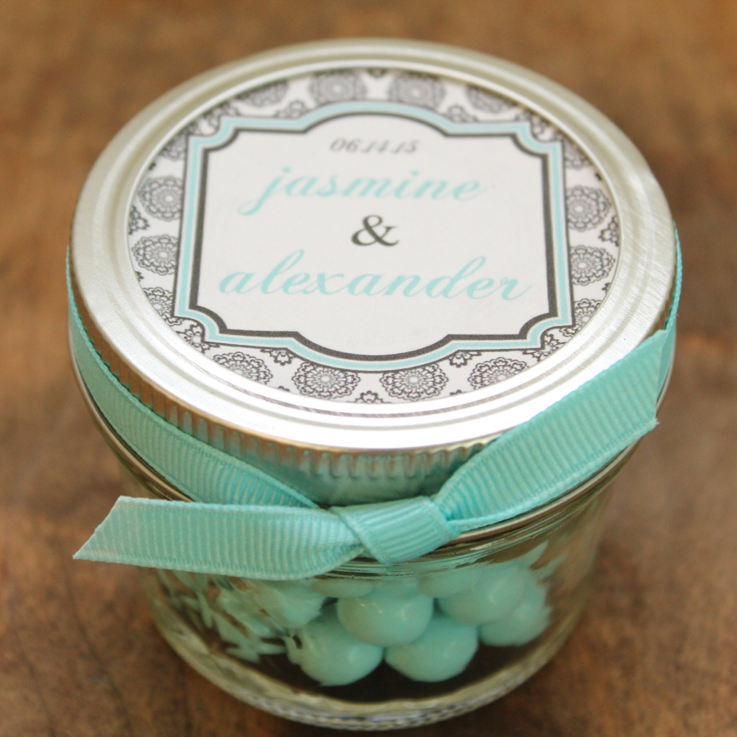 Set of 24 4 oz Mason Jar Wedding Favors West Label Design
