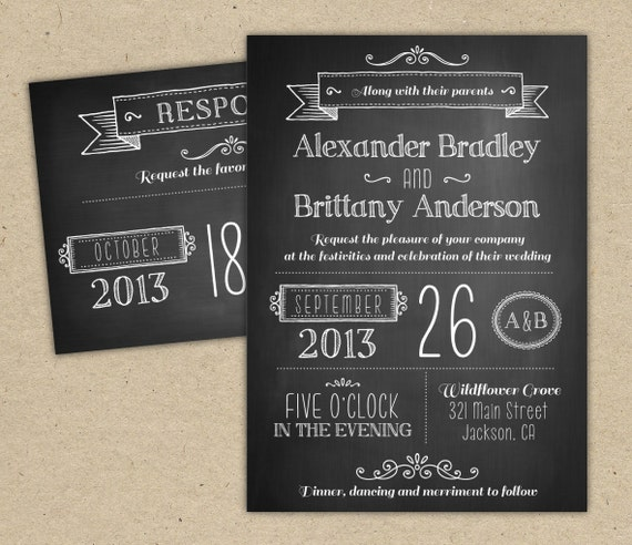 Chalkboard Engagement Party Invitation Printable By: Chalkboard Wedding Invitation. Modern Invitation Template. DIY
