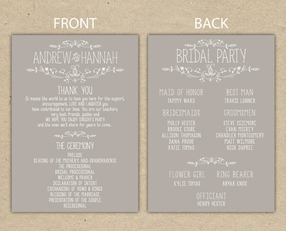 items similar to wedding program  wedding reception  wedding thank you  printable template