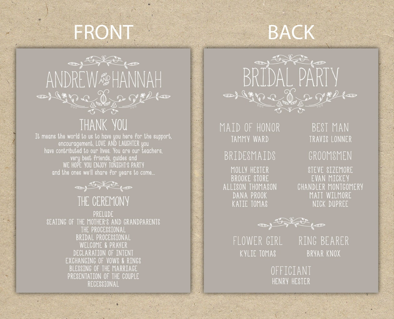 Wedding program wedding reception wedding thank you for Free wedding program templates