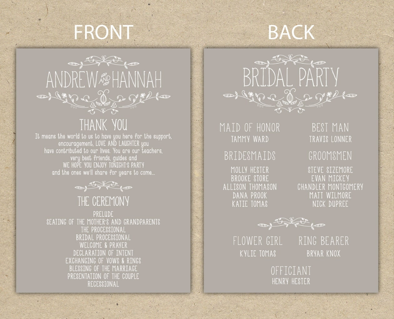 wedding program wedding reception wedding thank you. Black Bedroom Furniture Sets. Home Design Ideas