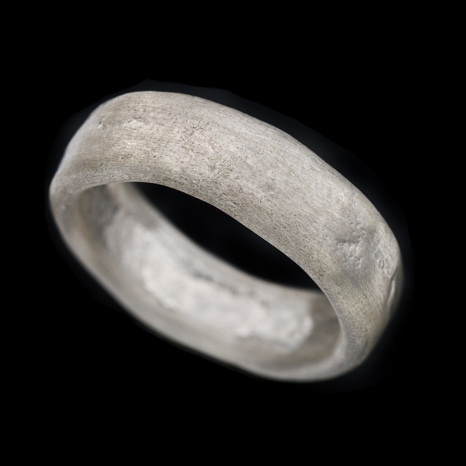 Natural Rough Looking Wide Fusing Sterling Silver Men Ring