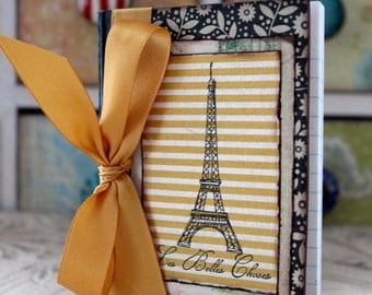 Altered Mini Composition Journal Notebook - Eiffel Tower