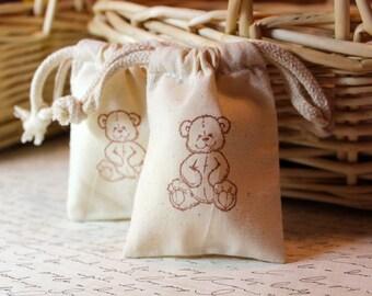 10 Cotton Drawstring Muslin Favor Bags - Teddy Bear
