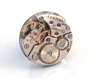 Steampunk - Vintage Round Watch Movement Tie Pin - Cogs Wheel Face - Neo Vicotirian - By GlazedBlackCherry