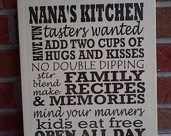 Wooden Sign Grandma's Kitchen/Nana's Kitchen/Mimi's Kitchen completely painted by Dressingroom5
