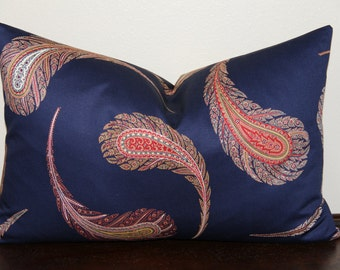 BOTH SIDES Iman Zena Paisley Print in Gem- LUMBAR Sizes - Decorative Designer Lumbar Pillow Cover