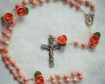 Handmade Clay Bead and Rose Rosary-- Dark Peach