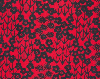 Japanese Katazome Paper - Red and Black Floral