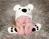 Newborn or 0-3 months  baby bear hat booties set crochet Newborn photo props photography boy girl