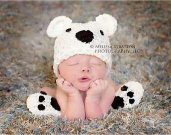 Newborn or 0-3 months  baby bear hat booties set crochet Newborn photo props photography boy girl