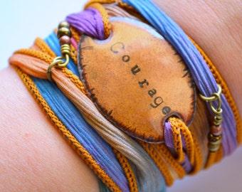 silk wrap bracelet- COURAGE - Boho Silk Wrap Bracelet- wrap bracelet- yoga wrap- have courage bracelet- under 50 gift