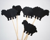24 Black Sheep Cupcake Toppers, Food Picks, Party Picks, Mary Had a Little Lamb Party Decorations - No936