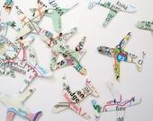 500 Mini Airplanes Map Atlas punch die cut confetti scrapbook embellishments - No191