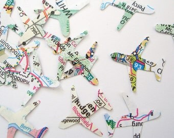 500 Mini Airplanes Map Atlas punch die cut confetti scrapbook embellishments - No191