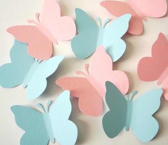 50 Pastel Blue Pink Butterfly Die Cuts Diy Butterfly Mobile