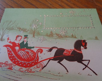 Glittered & Gorgeous 1940s Blank UNused Christmas/Winter card, One Horse Open Sleigh, optional old greetings decals, place cards, OTHERS