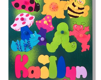 Puzzle with Childs Name | Bugs and Insects