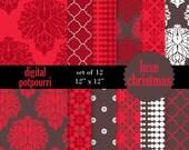 buy2get1 damask digital scrapbooking paper pack - luxe christmas damasks - 12 damask papers