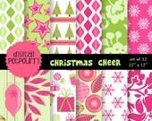 christmas digital paper pack for scrapbooking, card making, printing - christmas cheer 2get1