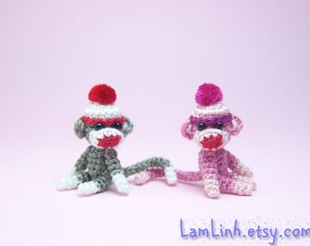 1 inch crochet pink sock monkey - Tiny amigurumi miniature animal