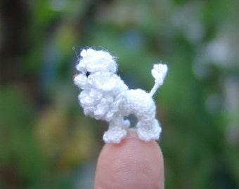 2/3 inch miniature white Poodle dog - Micro amigurumi crochet animal