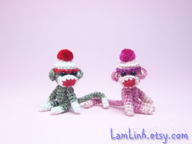 Amigurumi Crochet Sock Monkey : 1 inch crochet pink sock monkey Tiny amigurumi miniature