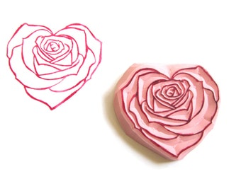 Heart Rose Hand Carved Rubber Stamp, Unmounted