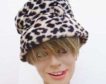 1960's Fake Leopard Audrey Hepburn hat
