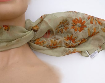REDUCED! 1960's VERA Silk Crepe designer hand painted scarf