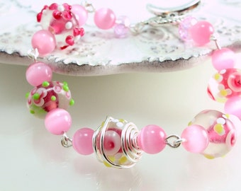 Pink Lampwork Bracelet, Wire Wrapped, Floral Lampwork Bracelet, Spring Bracelet