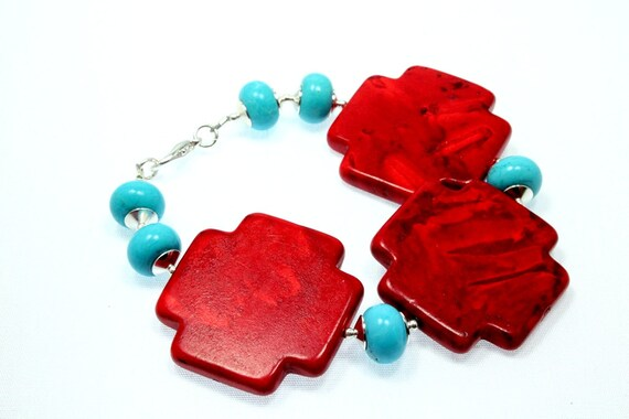 Red Magnesite Cross and Turquoise Bracelet