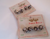Vintage Silver metal Jingle bells on cards by Liberty  Bell TWO CARDS