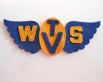 Vintage Wool Felt Applique Patch Blue and Gold WSTV Flying wings