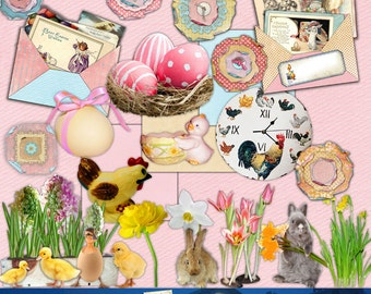 Pink Easter  ELEMENTS Digital Scrapbook Kit Downloadable Cards Tags Journaling Paper Art ATC