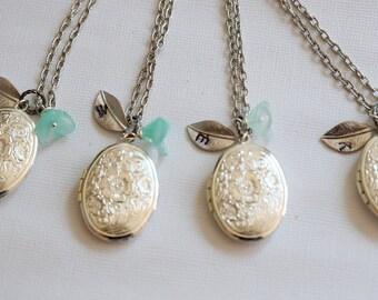 Bridesmaid Lockets Set Of Eight Bridesmaid Necklace,Locket,Silver Locket,White Pearl,Flower,Wedding Necklace