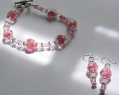 "NEW Rare Vintage ""Givre"" Crystal Bracelet and Earrings in Blush Pink - Perfect for Wedding or Prom"