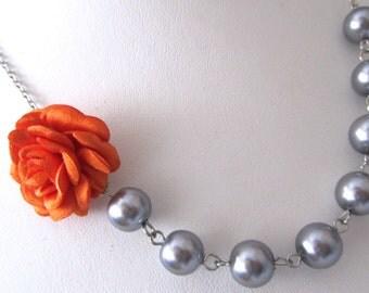 Pumkin orange flower necklace grey pearls - Pearl necklace - Bridal necklace - Bridesmaid necklace