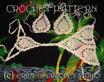 Crochet Pattern pineapple bikini G-string and top in PDF.