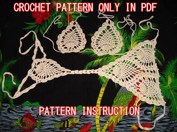 Crochet pineapple bikini G-string pattern and top instruction with diagram .