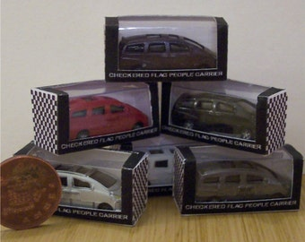 Dolls house miniature, unique toy car in a box. People Carrier
