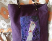 Unique  Deep Purple Art Bag of thick fabric and my fabric art print on