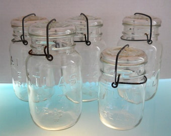 1923 Atlas E-Z Seal Clear Glass Canning Jars