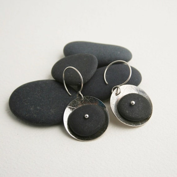 Beach Pebble Disc Earrings