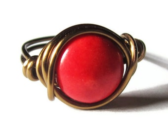 Red Ring Wire Wrapped in Antique Brass , Valentine's Day Rings and Bohemian Jewelry