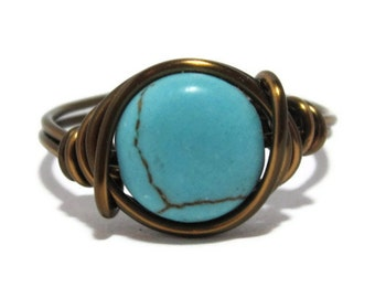 Turquoise Ring - Wire Wrapped Jewelry - Custom Size Boho Rings