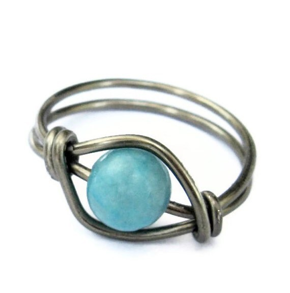Turquoise Ring - Boho Jewelry , Bohemian Wire Wrapped Ring