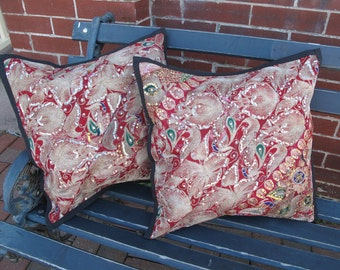 """Patchwork Pillow, Cushion Covers from Recycled Sequin Sari, Saree-Pair-16""""sq"""